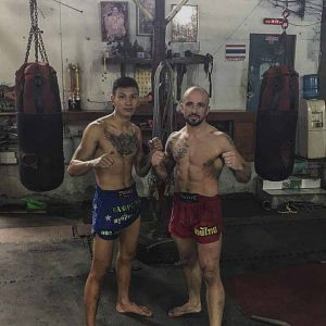 Andy training Muay Thai in Thailand